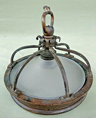 Antique Vintage Bronze / Brass & Glass Ceiling Pendant Lamp Gallery for Repair