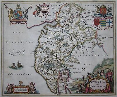 Cumberland - Cumbria - Kupferstichkarte from J. Blaeu 1645 -genuine Map