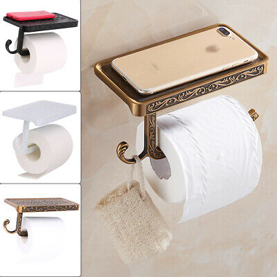 Wall Mounted Toilet Roll Tissue Holder Stand Phone Shelf Bathroom Paper