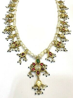 Vintage antique 20K Gold jewelry Diamond Polki Ruby Emerald Pearl Necklace