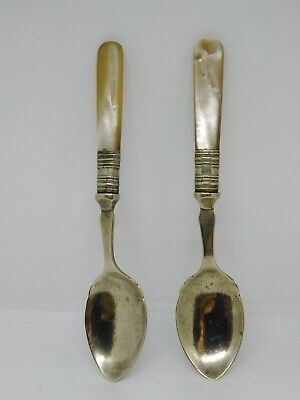 Two Silver Plated Spoons With Imitation Mother Of Pearl Like Handles