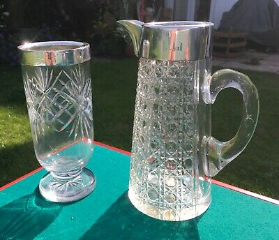 """Large 9"""" Late Victorian 1900 Cut Glass Silver Mounted Pitcher Claret Jug & Vase"""