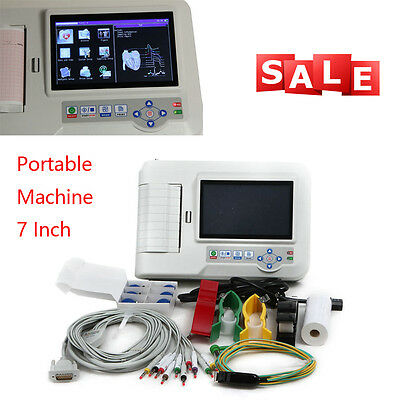 Pro 6Channel 12 Lead EKG/ECG Machine Touch-Screen Electrocardiograph+Software CE