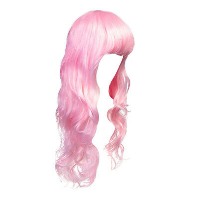 Blue Banana Bright Coloured Baby Pink Wavy Long Wig/Synthetic Hair With Fringe