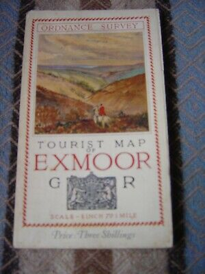 1921 Ordnance Survey (1 inch to 1 mile) Tourist Map of Exmoor. VGC.
