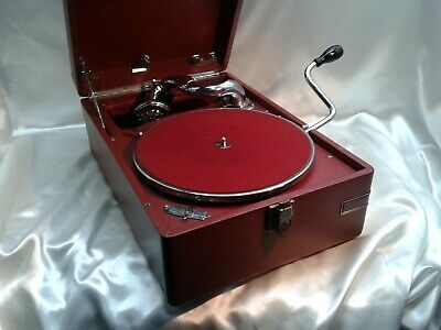 Superb Rare Red Hmv 102 Deluxe Gramophone 5B Sound Box &  Fully Serviced