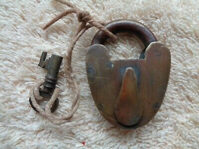 vintage small brass padlock with key working heart shape