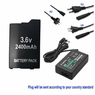 Battery for Sony PSP 2001 2002 2003 2004 3001 3002 3003 3004 +AC Power Adapter