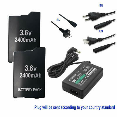 2x Battery + EU/US/AU AC Charger for Sony PSP 2000 PSP 3000 PSP 2004 3004 S110
