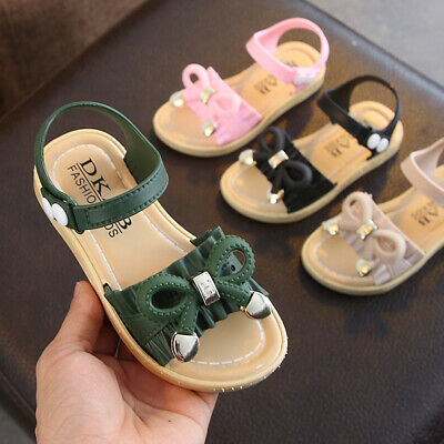 Summer Children Open Toe Flat Sandals Kids Girls  Toddler Bow-Knot Casual Shoes