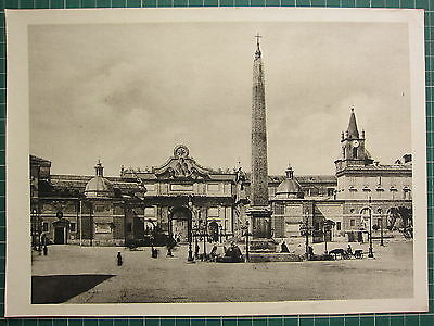 1944 View Of Rome Print ~ Piazza Del Popolo With Egyptian Obelisk