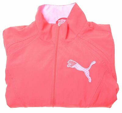 PUMA Girls Tracksuit Top Jacket 11-12 Years Large Pink Polyester  CZ09