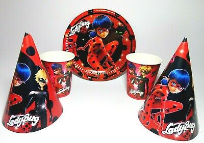 Miraculous Ladybug Party Birthday Supplies Set of Plates Cups Party hats