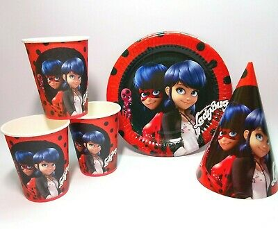 Miraculous Ladybug Birthday Party Decorations Plates 10 cups 10 hats 10