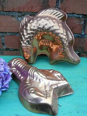 Fish and Lobster Copper Style  Blancmange Jelly Mousse Food Molds .