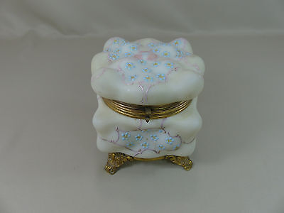 Large Antique Victorian Wavecrest Ormolu Mounted Footed Dresser Jewelry Box