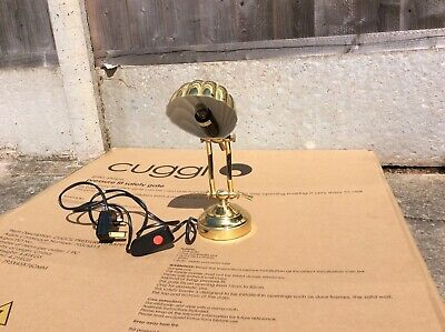 Vintage Art Deco Brass Shell Bankers Desk Lamp