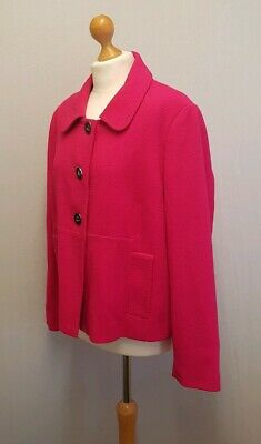 M&S HOT PINK 60's STYLE JACKET - FEATURE BLACK & SILVER LARGE BUTTONS - SIZE 20