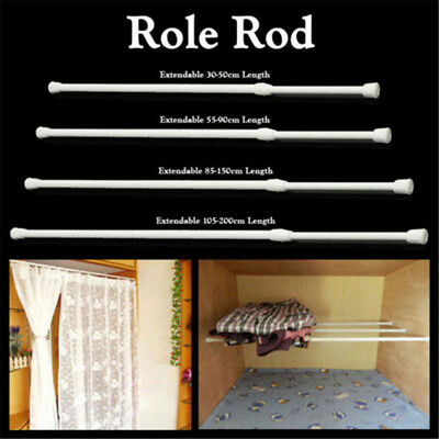 Spring Long Loaded Extendable Net Voile Tension Curtain Rail Pole Rod Room Tools