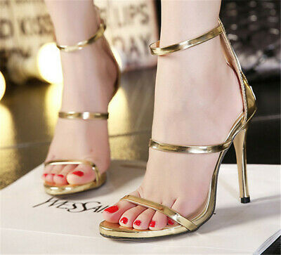 Summer Women Ankle Strap Stiletto Heel Sandal Ladies Open Toe Casual Office Shoe