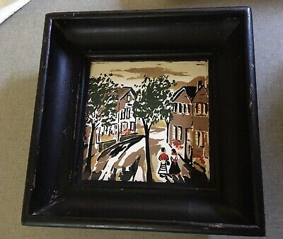 Vintage German Tile Hand Painted With Great Wooden Frame.