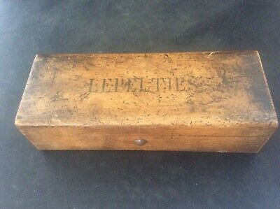 Antique c1890 French Push Button Wooden Box Embossed with LEPEL ties on lid