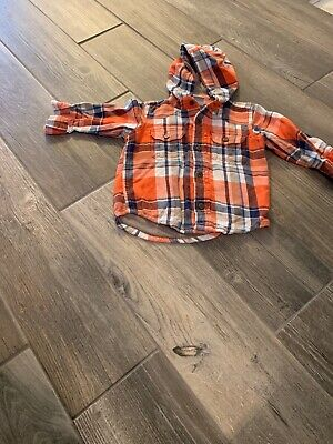 Old Navy 12-18 Months Orange/blue/ White Button Up/Hooded Jacket
