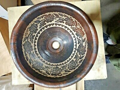 Handmade Round Hammered Coffee Top Mount Bathroom Sink w/ Inside Flower Design