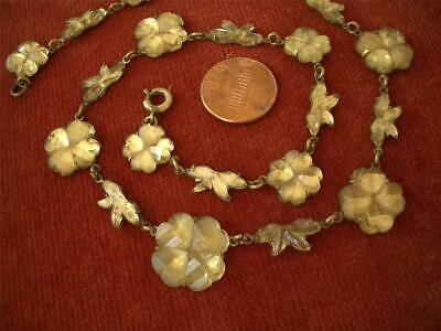 Antique Vtg Floral Citrine Yellow Art Deco Vauxhall Mirrored Glass Necklace