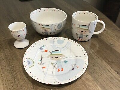 Mamas And Papas New Ceramic Breakfast Set. *Bees* Bowl, Cup, Plate & Egg Cup