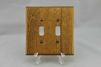 """LP-1874 5 3/8"""" Cherry Finish Wood Wood Vintage Dual Switch Plate"""