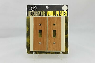 "LP-1924 GE 4 1/2"" Tan Wood Plastic Decorative Dual Switch Plate"