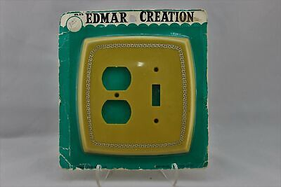 """LP-1728 Edmar 5 1/2"""" Yellow Greek Plastic Vintage Dual Switch & Outlet Cover"""