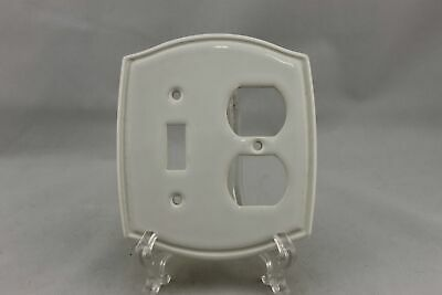 "LP-1884 4 1/2"" White Indent Trim Ceramic Vintage Switch & Outlet Cover"