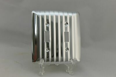 "LP-1881 Edmar 4 5/8"" Silver Ridged Metal Vintage Dual Switch Plate"