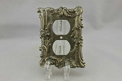 "LP-1863 Charm n Style 3 1/2"" Brass Ornate Floral Brass Vintage Outlet Cover"