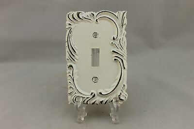 "LP-1914 3 1/4"" White Ornate Trim Brass Vintage Switch Plate"