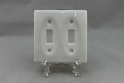 "LP-1813AI 4 3/8"" White Ceramic Vintage Dual Switch Plate"