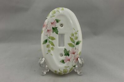 "LP-1809 3 3/8"" White Floral Ceramic Vintage Switch Plate"