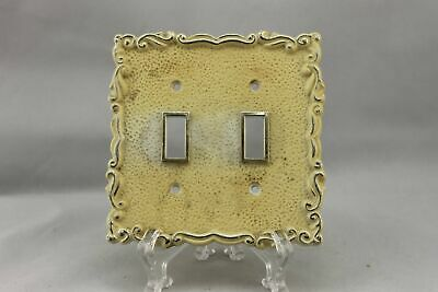 "LP-1867 5"" Cream Ornate Gold Trim Plastic Vintage Dual Switch Plate"