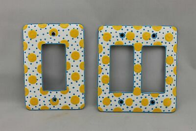 """LP-1794 Mulberry 4 5/8"""" White Polka Dot Metal Vintage Lot Switches Plate"""