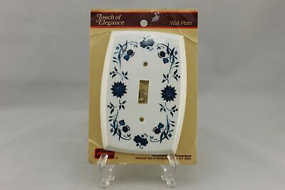 "LP-1900 American Hardware 3 3/4"" White Blue Flowers Vintage Switch Plate"