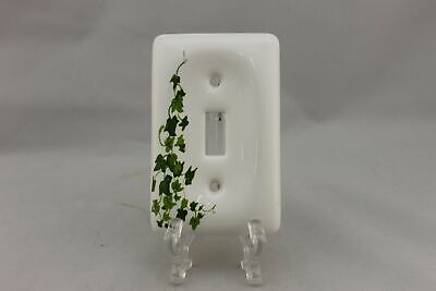 "LP-1818 Leviton 2 7/8"" White Green Ivy Ceramic Vintage Switch Plate"