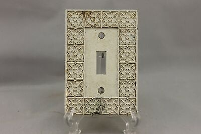 "LP-1840AI National Lock 3 1/8"" White Ornate Gold Trim Brass Vintage Switch Plate"