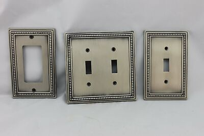 LP-1833 Silver Circle Border Metal Vintage Lot Switches Plate