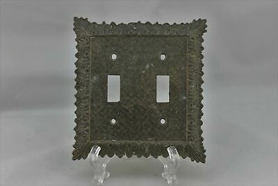"LP-1850 M.C. Co. 5"" Brown Ornate Trim Brass Vintage Switch Plate"