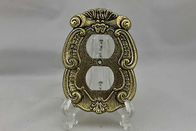 "LP-1845 5 1/8"" Gold Ornate Trim Metal Vintage Outlet Cover"