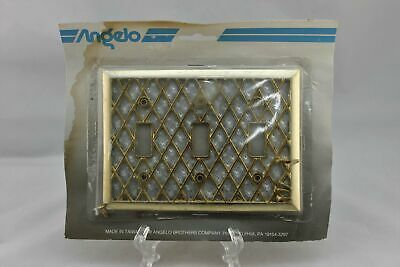 "LP-1765 Angelo 6 1/8"" Gold & Silver Lattice Metal Vintage Triple Switch Plate"