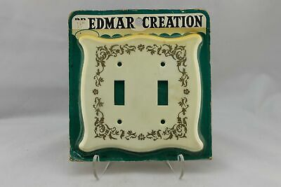 "LP-1724AI Edmar 5 1/4"" Gold Ornate Trim Plastic Vintage Dual Switch Plate"