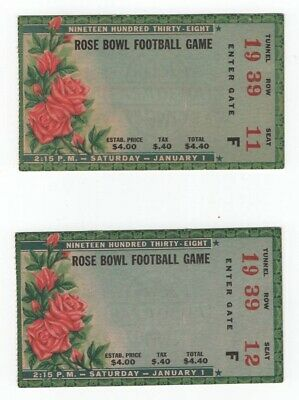 East-West Football 1938 Rose Bowl 2 Ticket Stubs - California vs Alabama Tide